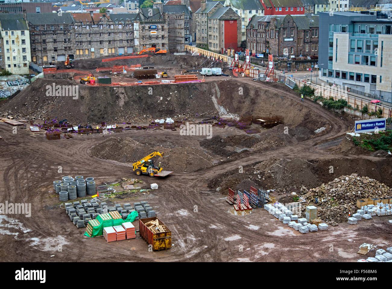 Work underway on the controversial £150m Caltongate project in Edinburgh. - Stock Image