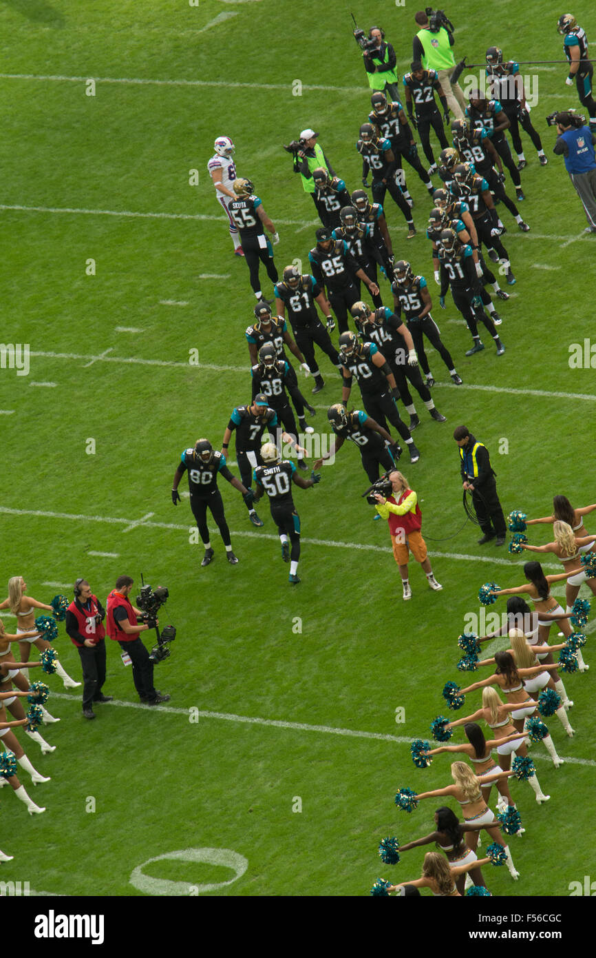Jacksonville Jaguars enter Wembley Arena for NFL match - Stock Image