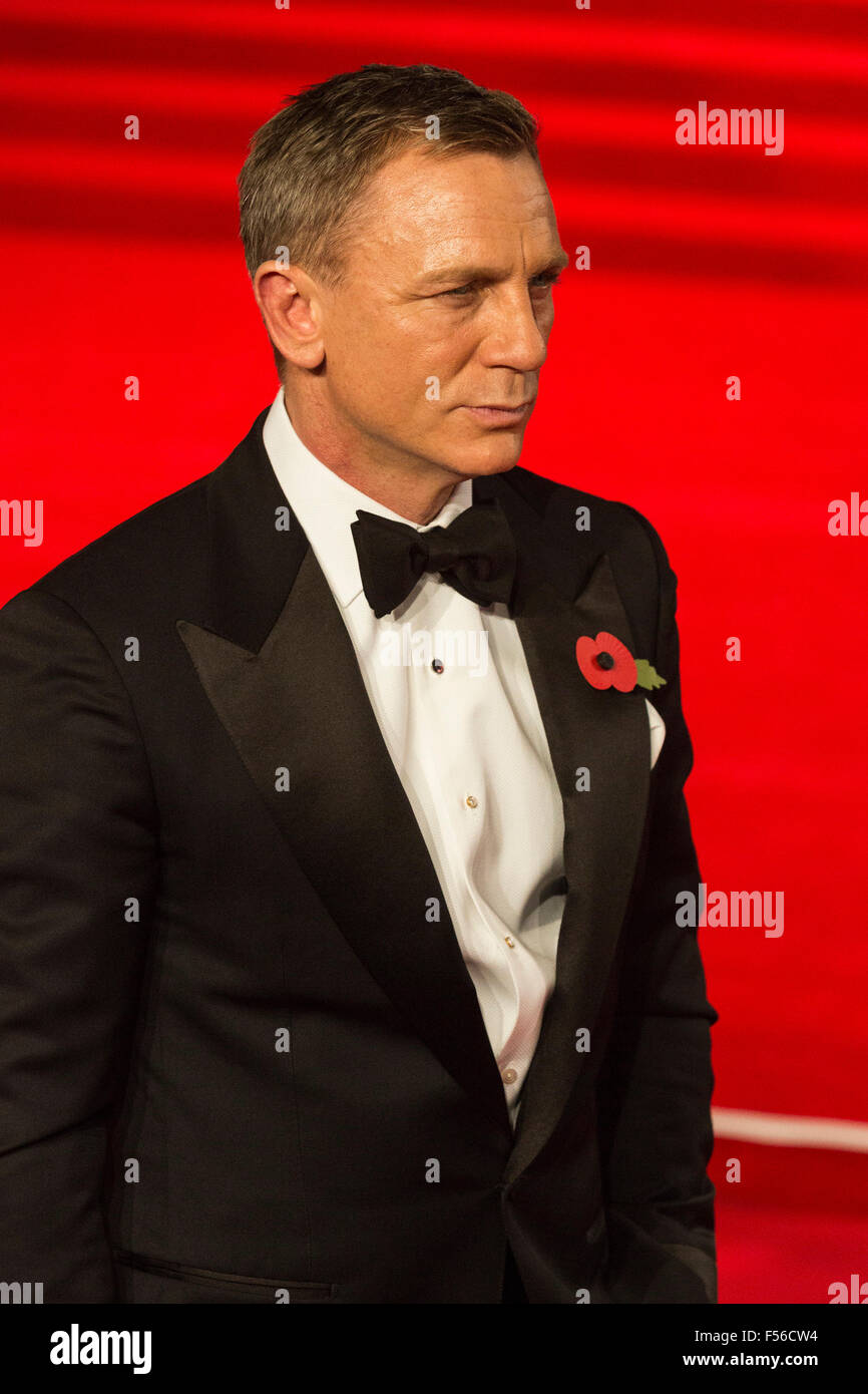 London, UK. 26/10/2015. Actor Daniel Craig. CTBF Royal Film Performance, World Premiere of the new James Bond film - Stock Image