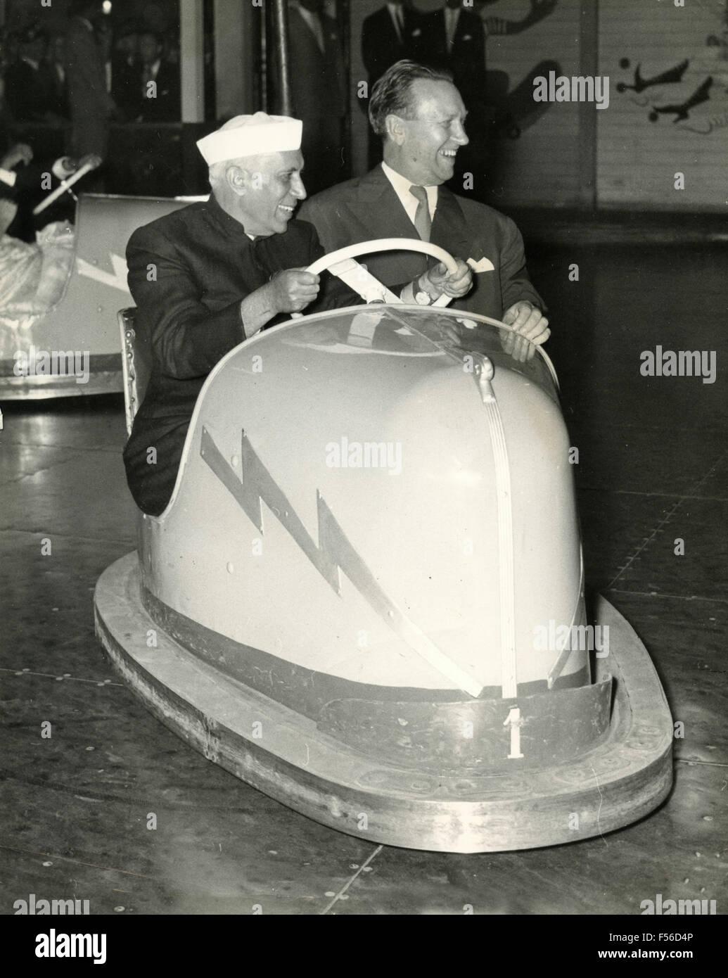 The Danish Prime Minister Hans Christian Hansen and the Indian Prime Minister Jawaharlal Nehru, Copenhagen, Denmark - Stock Image