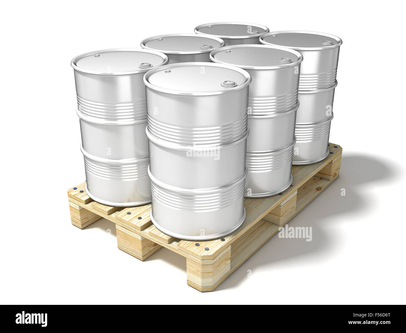 White oil barrels on wooden euro pallet. 3D illustration isolated on a white background - Stock Image