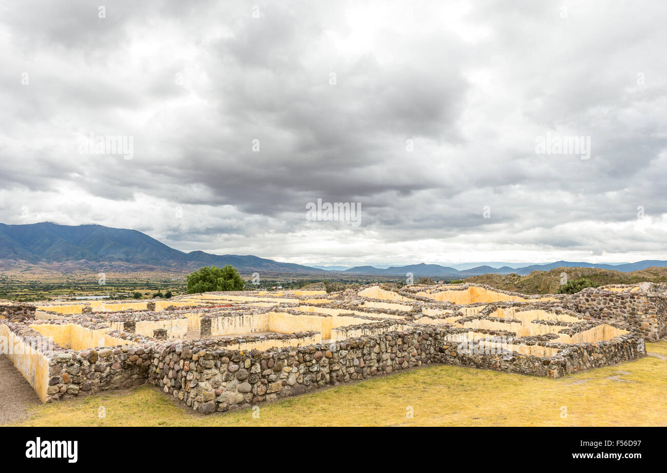 The Palace of the Six Patios at Yagul archaeological site, Oaxaca, Mexico. It is a labyrinth formed of three elite - Stock Image