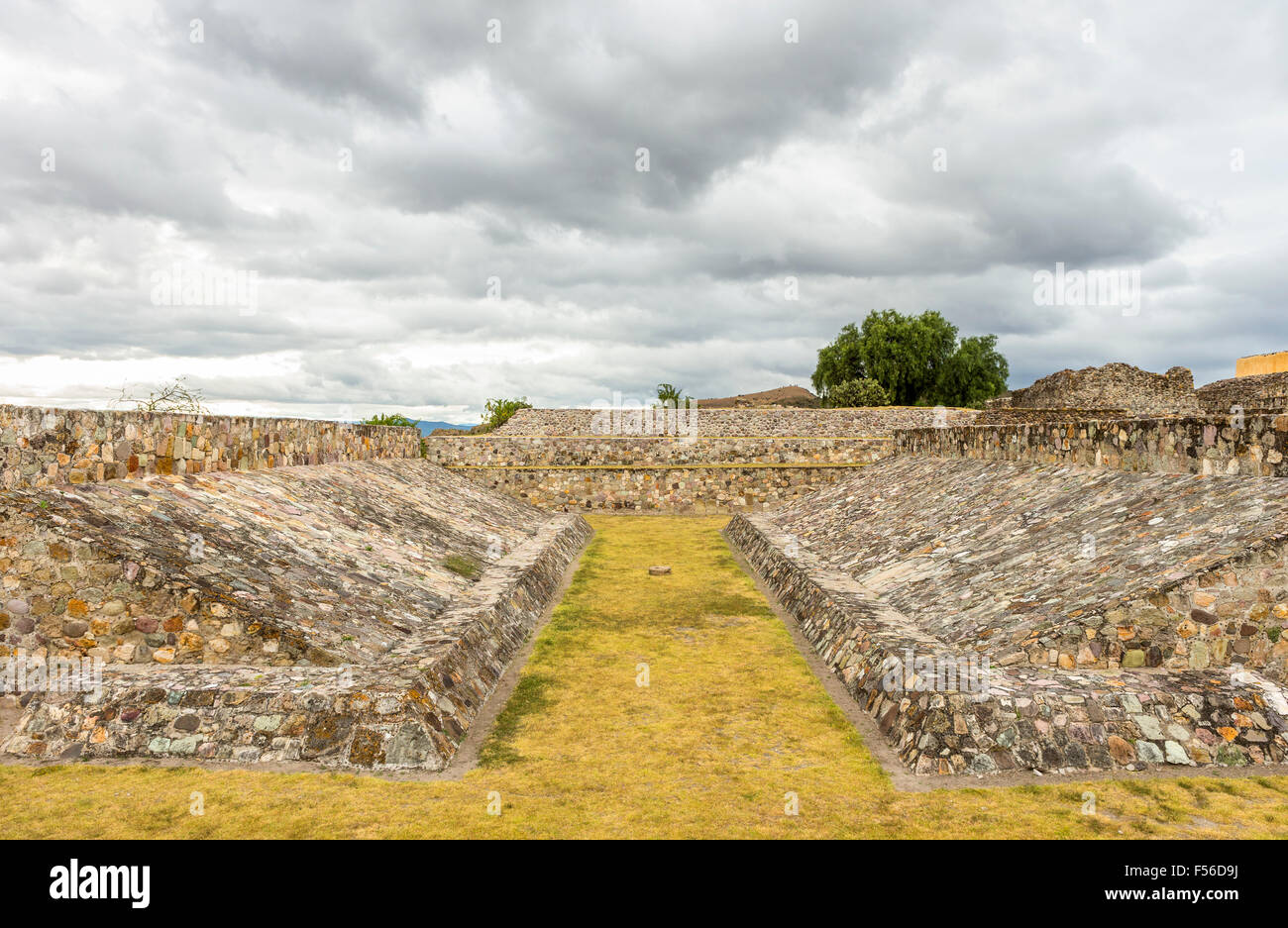 A panoramic view of the Ballcourt at Yagul archaeological site, Oaxaca, Mexico. The ballcourt was built in the Classic - Stock Image