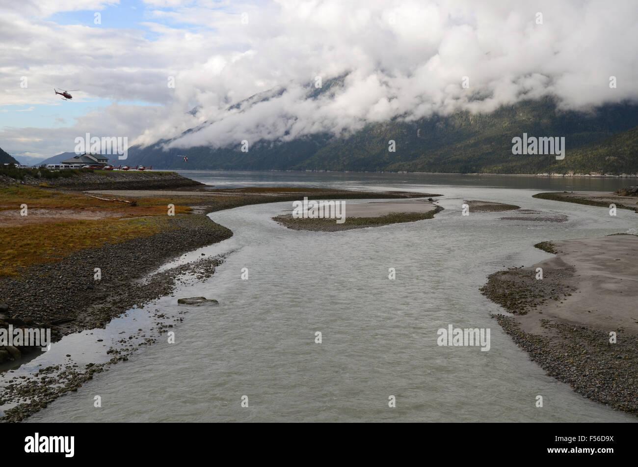 The Skagway River/Taiya Inlet, Skagway, Alaska - Stock Image