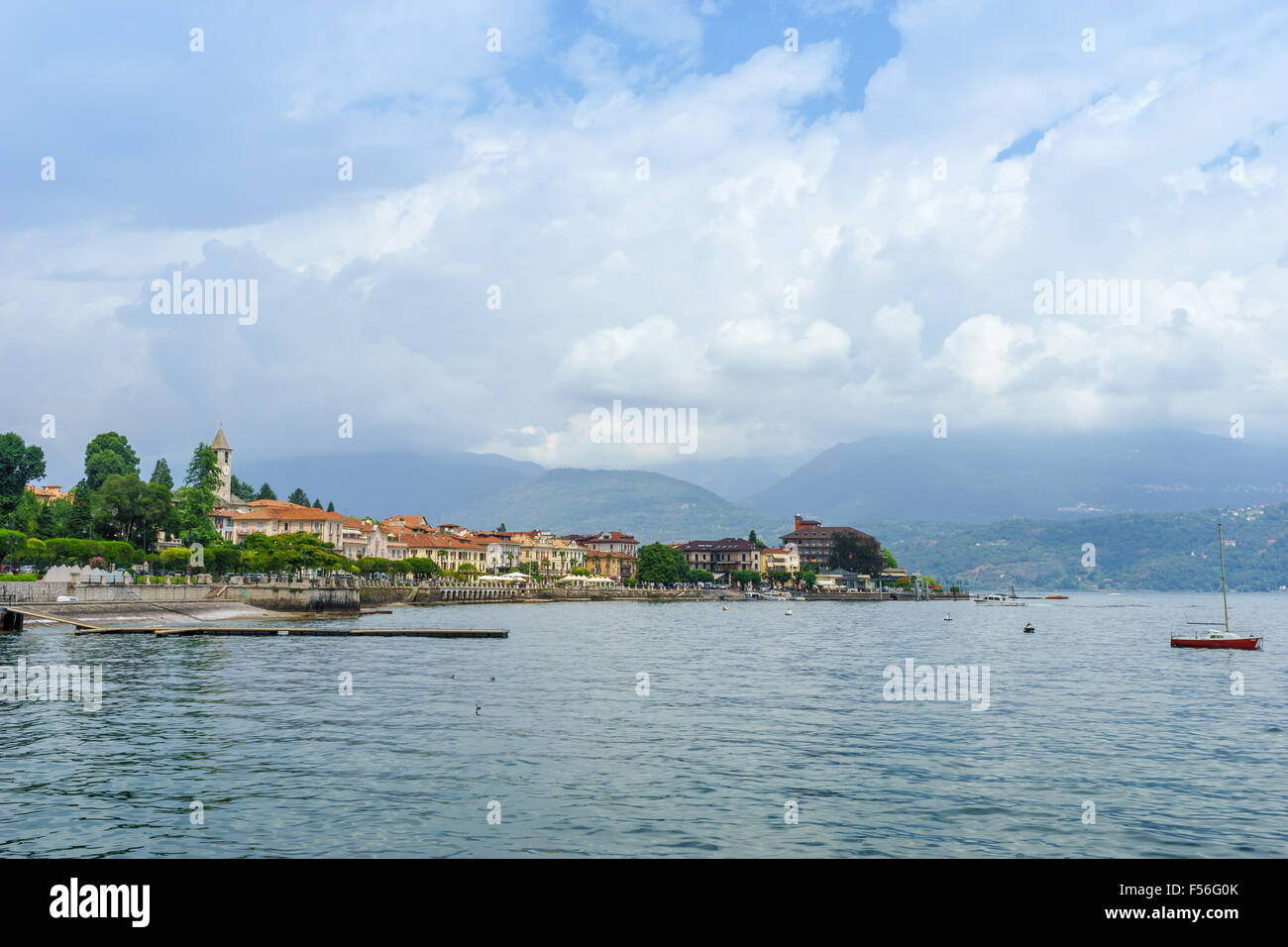 View of Ascona from the harbor on Lake Maggiore in summer. Stock Photo