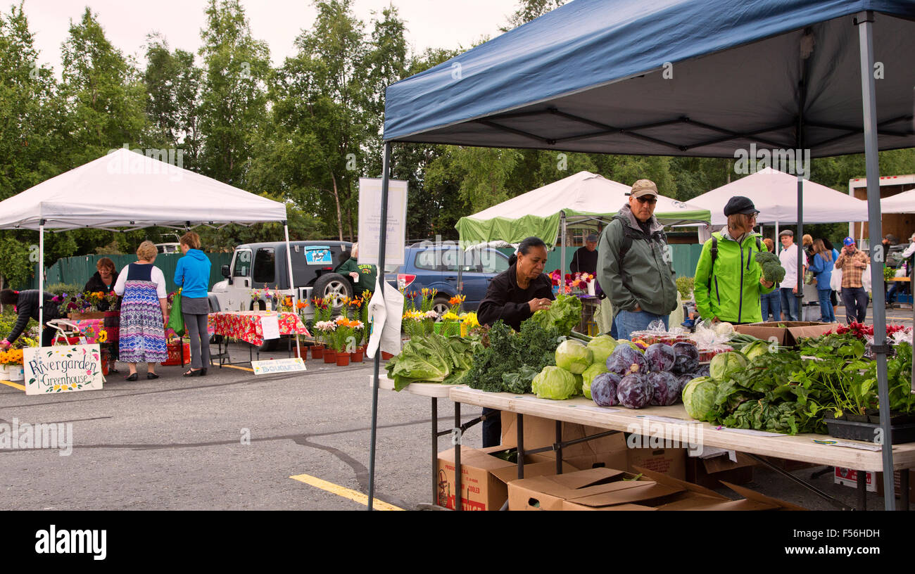 Anchorage Farmer's Market,  customers shopping. - Stock Image