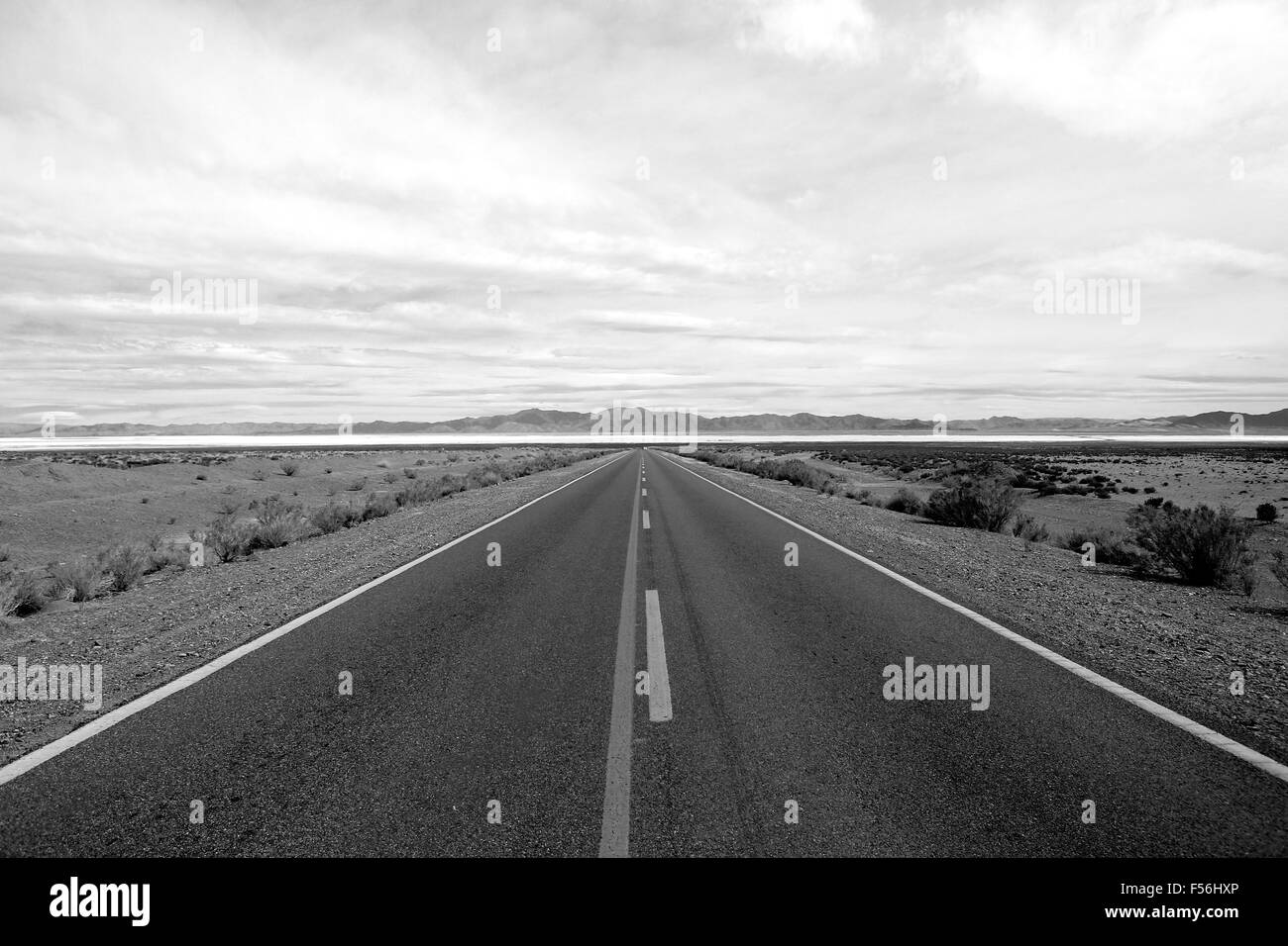 symmetric straight road to Salinas Grandes/ Big Salines picturesque Quebrada de Humahuaca mountains salt lake (black&white) - Stock Image