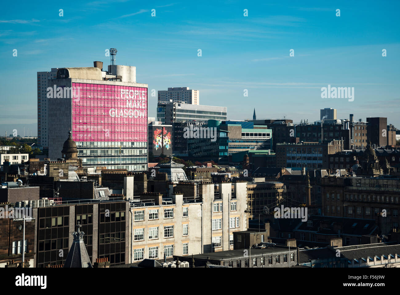 Glasgow skyline, highlighting the City of Glasgow College, North Hannover Street Campus - Stock Image