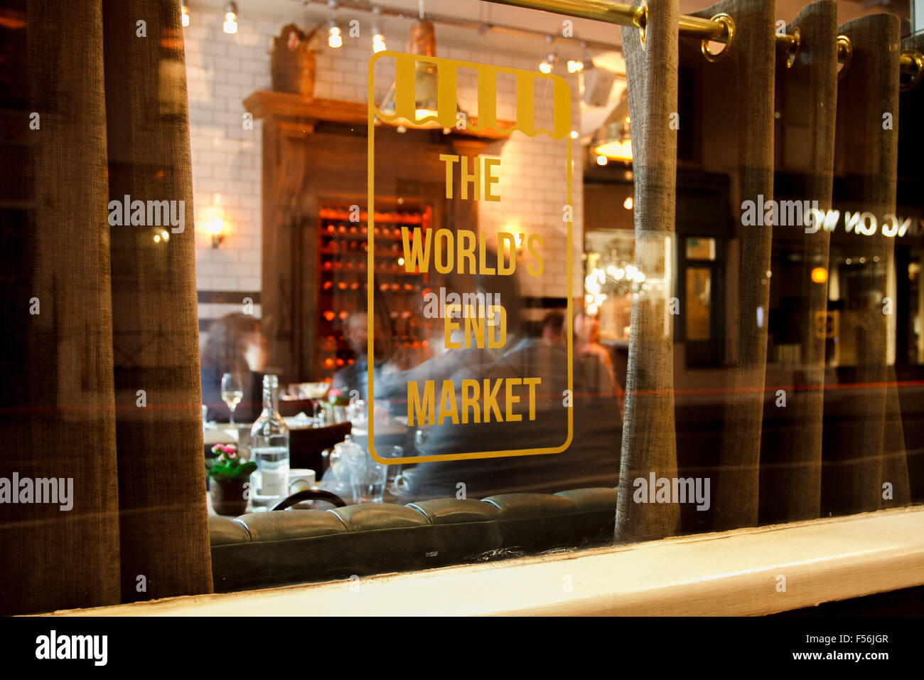 Window of The World's End Market - A famous pub and restaurant at King's Road, Chelsea, London - Stock Image