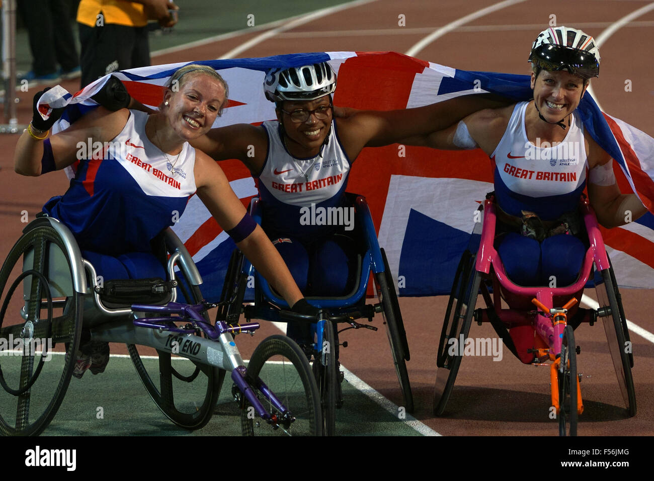 Doha, Qatar. 28th Oct, 2015. The Women's 800m T34 Final at the 2015 IPC Athletics World Championship taking - Stock Image