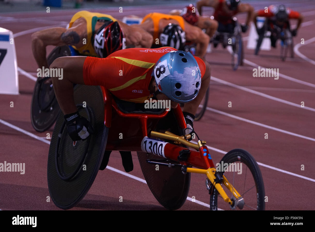 Doha, Qatar. 28th Oct, 2015. Event Overview - Men's 800m T54 - Round 1 Heat 1 to 4 at 2015 IPC Athletics World - Stock Image