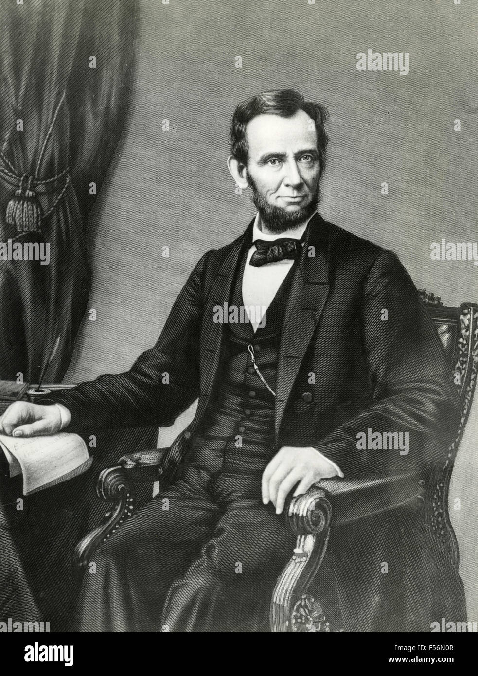 Portrait of American president Abraham Lincoln - Stock Image