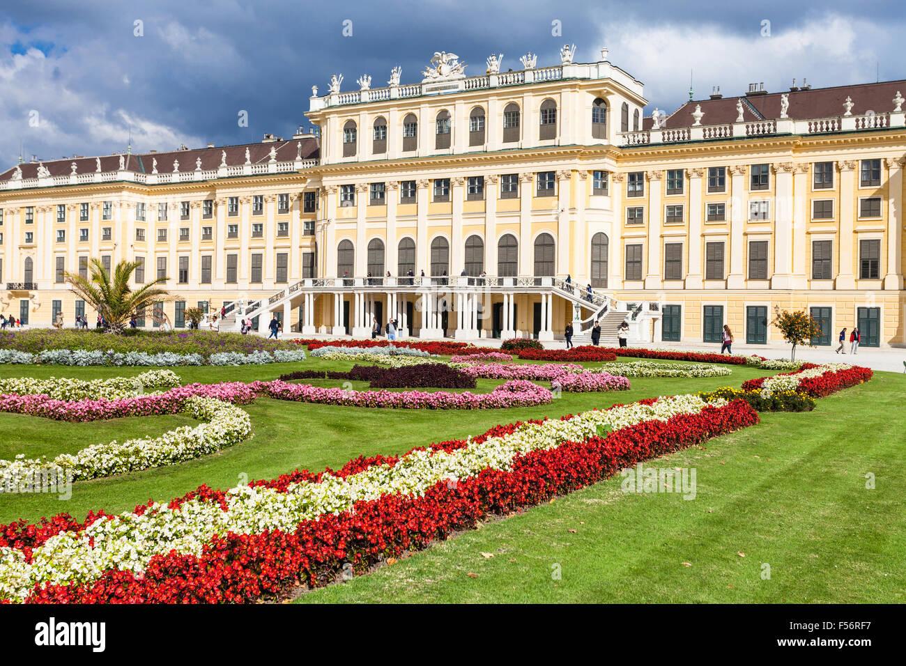 travel to Vienna city - flowers in garden of Schloss Schonbrunn palace, Vienna, Austria - Stock Image