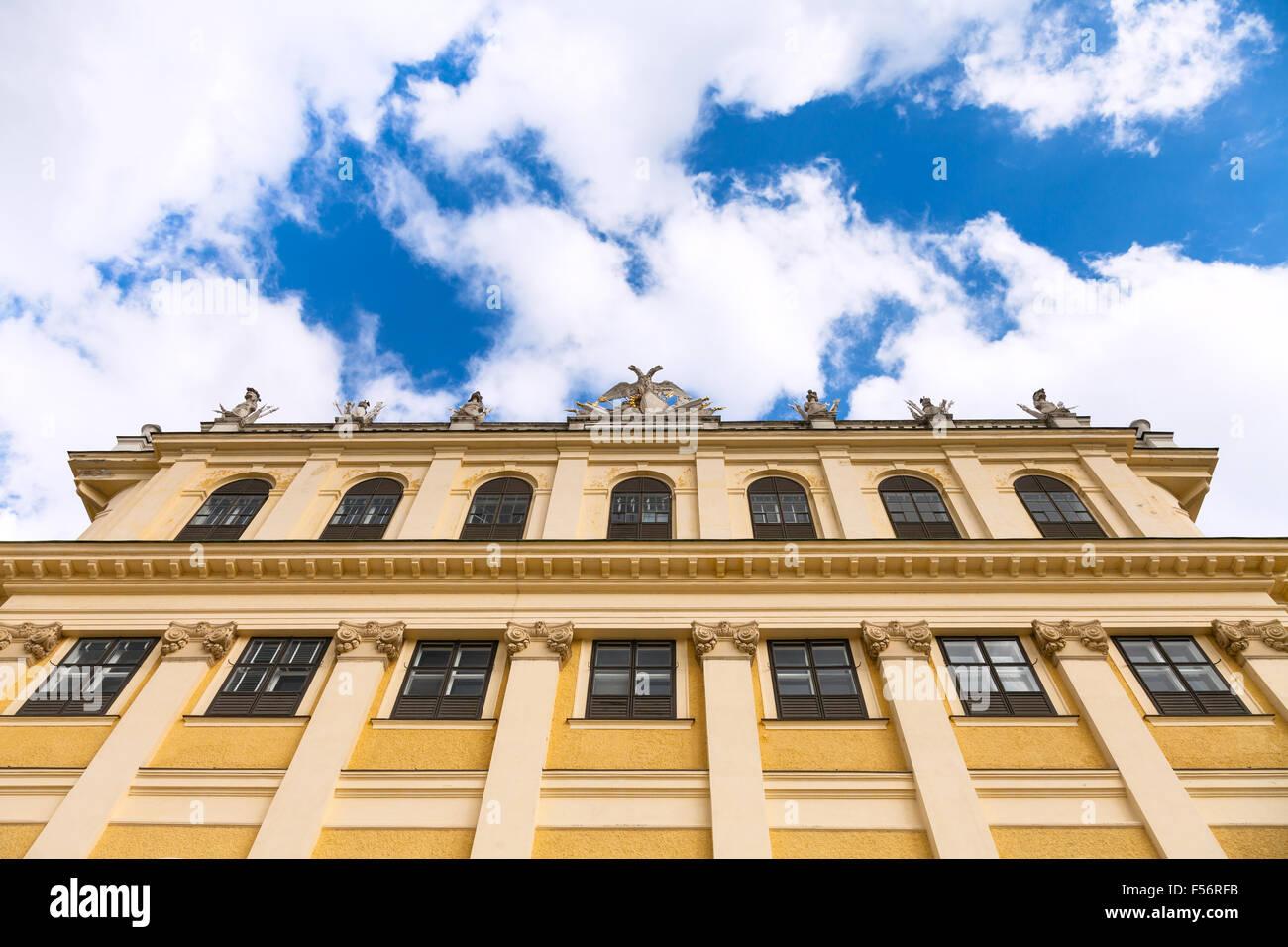 travel to Vienna city - facade of Schloss Schonbrunn palace and sky, Vienna, Austria - Stock Image