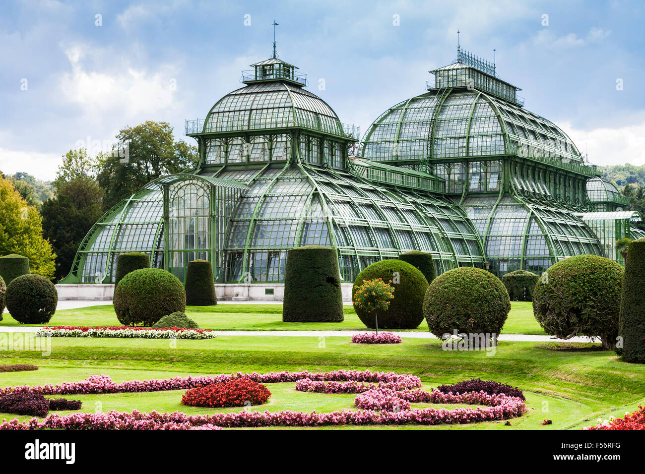 travel to Vienna city - Palm House, large greenhouse in garden of Schloss Schonbrunn palace, Vienna, Austria - Stock Image