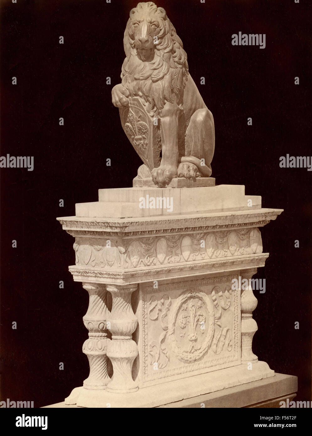 Leo said the Marzocco, reproduction of the original stone by Donatello, Florence, Italy - Stock Image