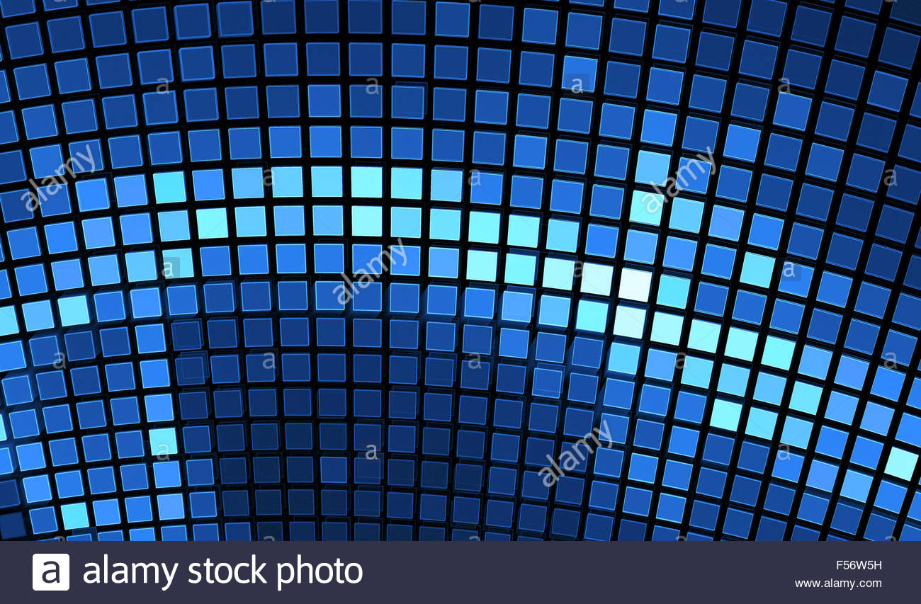 Abstract Mosaic Background Bright Blue Disco Fractal Art Pattern For Wallpaper Interior Album Flyer Cover Poster