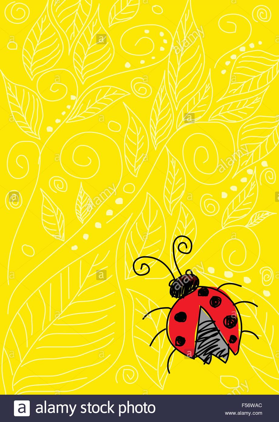Naive art illustration of a beetle on yellow ornament background - Stock Vector
