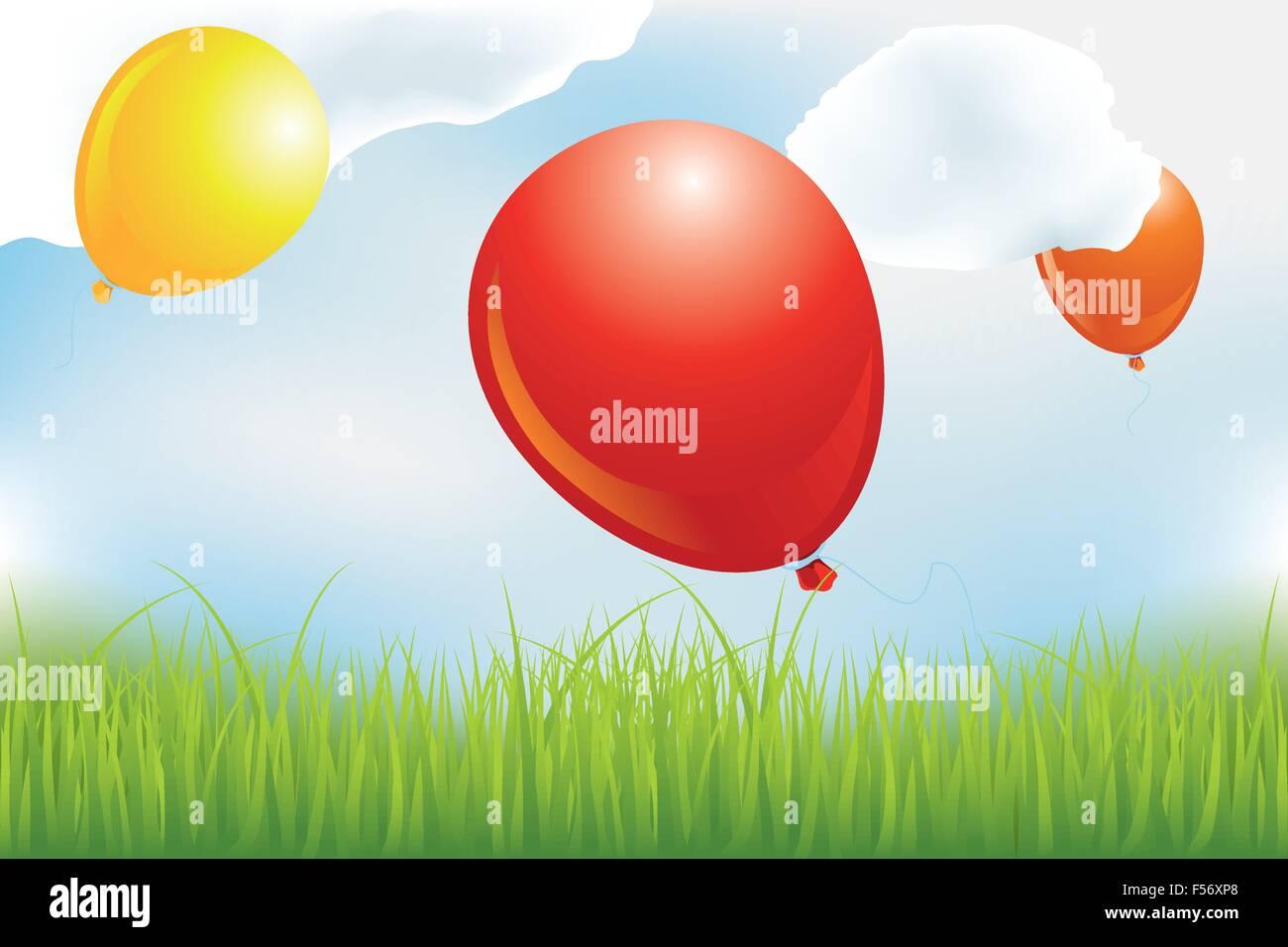 Balloons over meadow in clouds - eps 10 vectors - Stock Vector