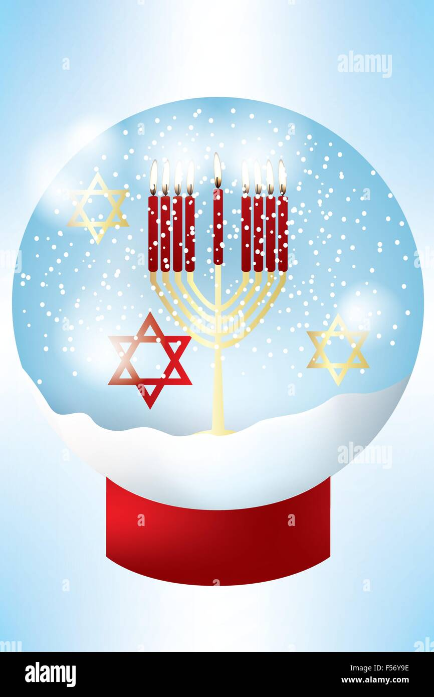 Nine burning candles in golden jewish hanukkah candle holder and stars of David inside a snow globe - eps 10 vectors - Stock Vector