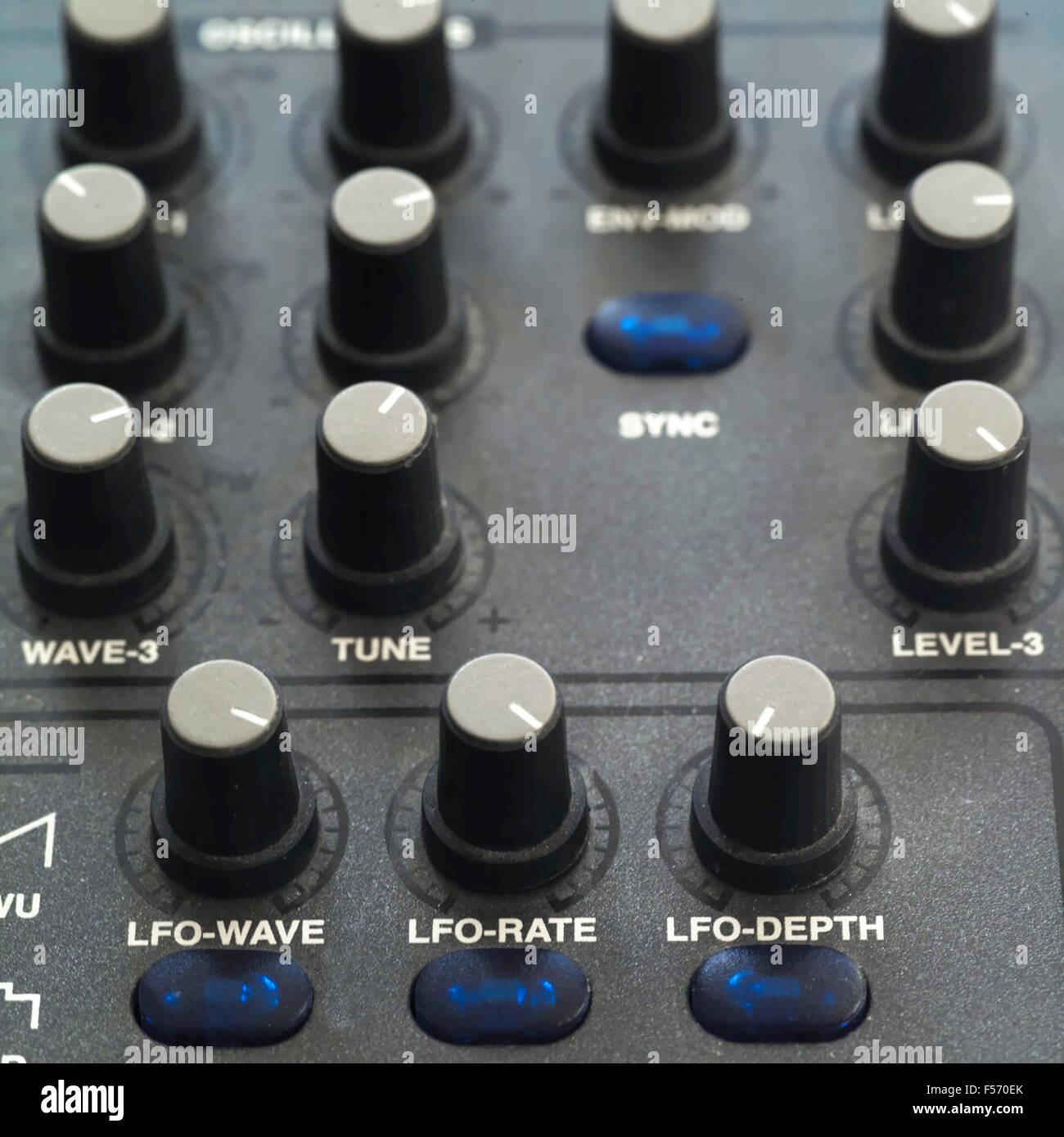 Rows of encoders on a synthesizer - Stock Image