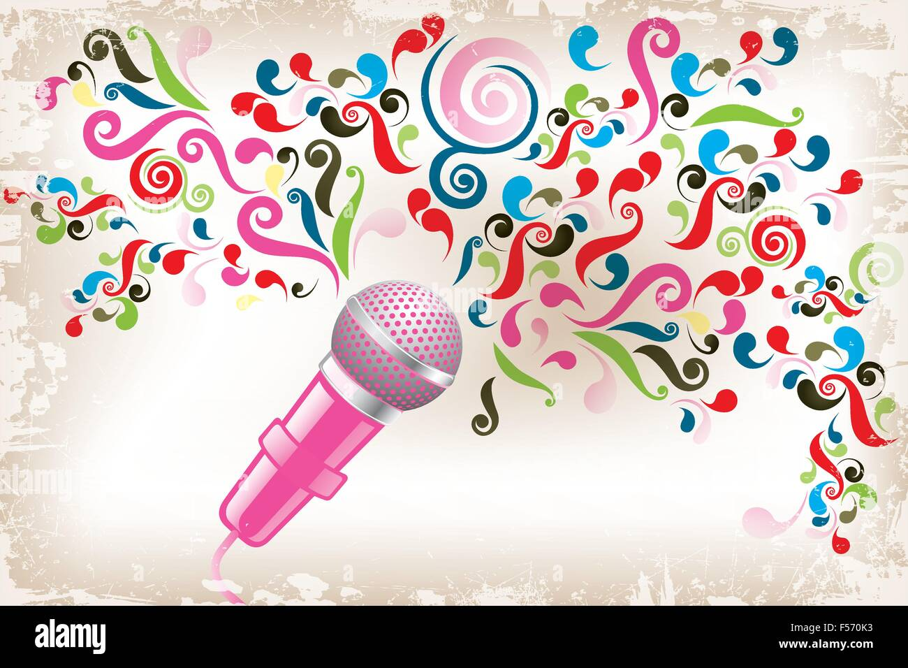 Art poster of creative voice - eps10 vector illustration shows microphone with colorful swirls as creative voice - Stock Image
