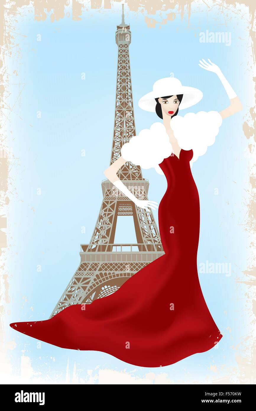 Fashion show in Paris - eps10 vector illustration of fashion model above Eiffel tower in vintage-retro look - Stock Vector