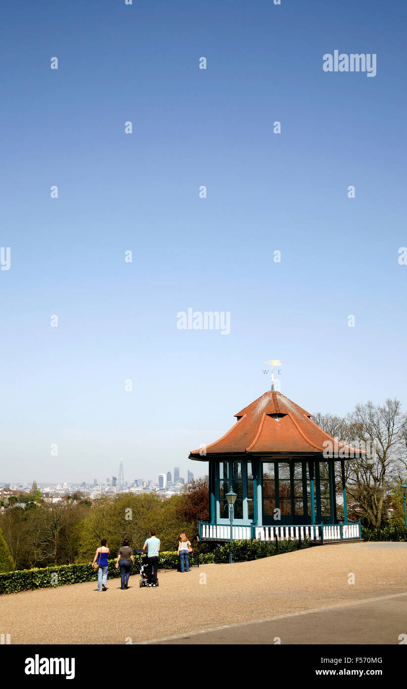 Skyline view of the City of London from the bandstand in Horniman Gardens, Forest Hill, London, UK Stock Photo