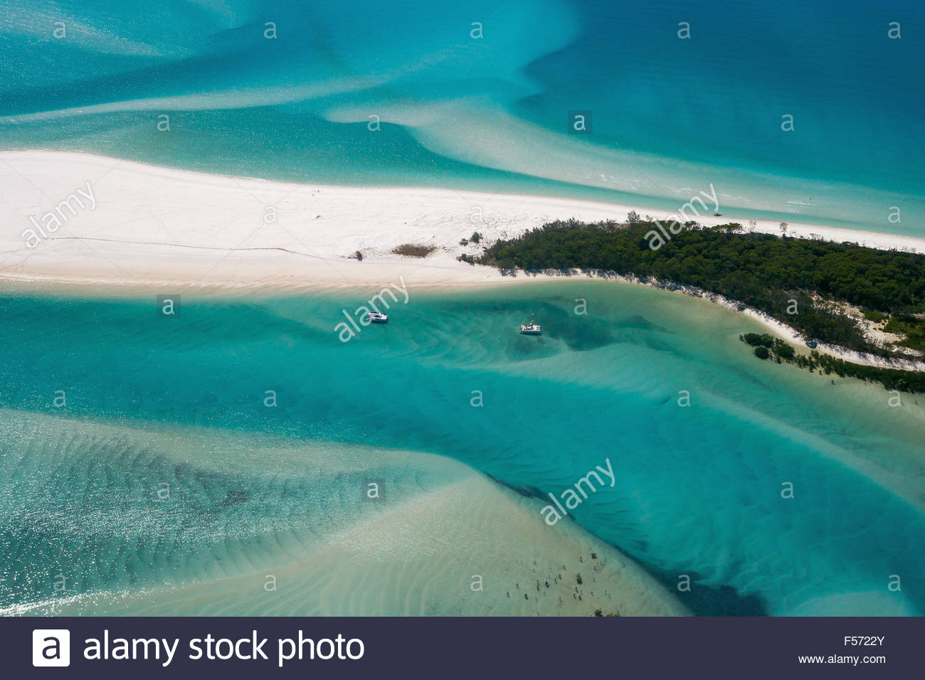 Aerial view of Whitehaven beach and the Hill Inlet on whitsunday island - Whitsundays - Queensland (Australia) - Stock Image