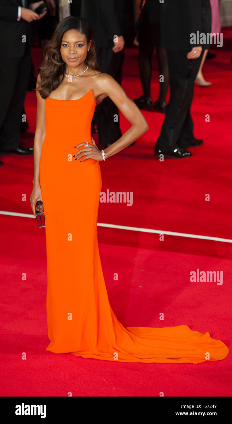 Naomie Harris, who plays the part of Moneypenny, attending the world premiere of the latest 'Bond' movie - Stock Image