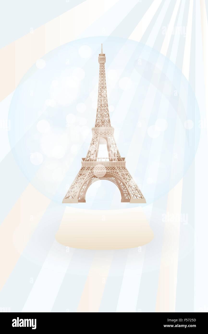 Art poster of retro snow globe with Eiffel tower - eps10 vector illustration - Stock Vector