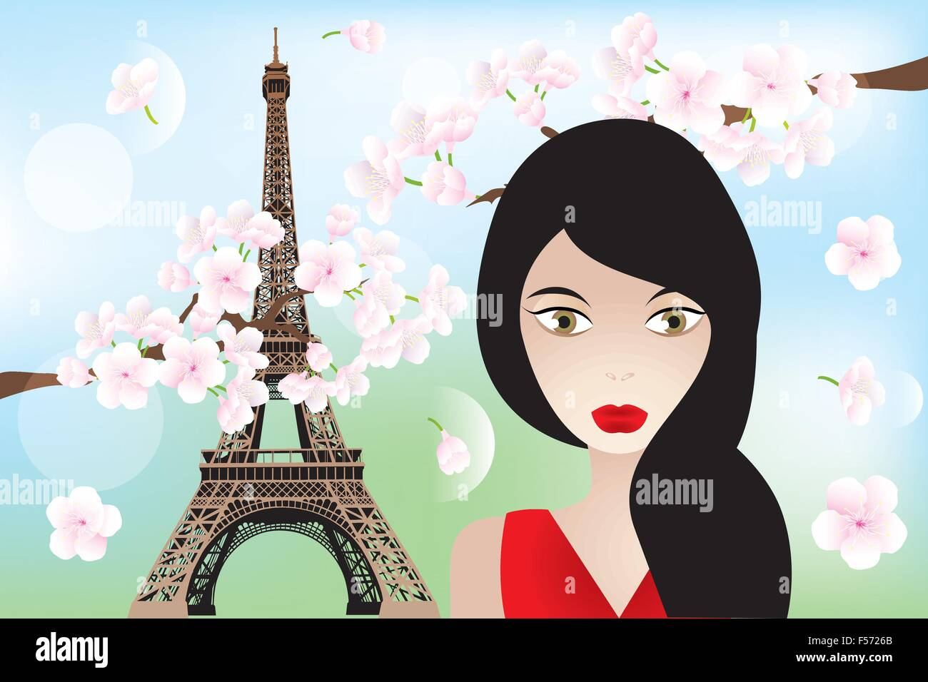 Unique eps10 vector illustration with beautiful woman, Eiffel-towerand cherry-blossoms - Stock Vector