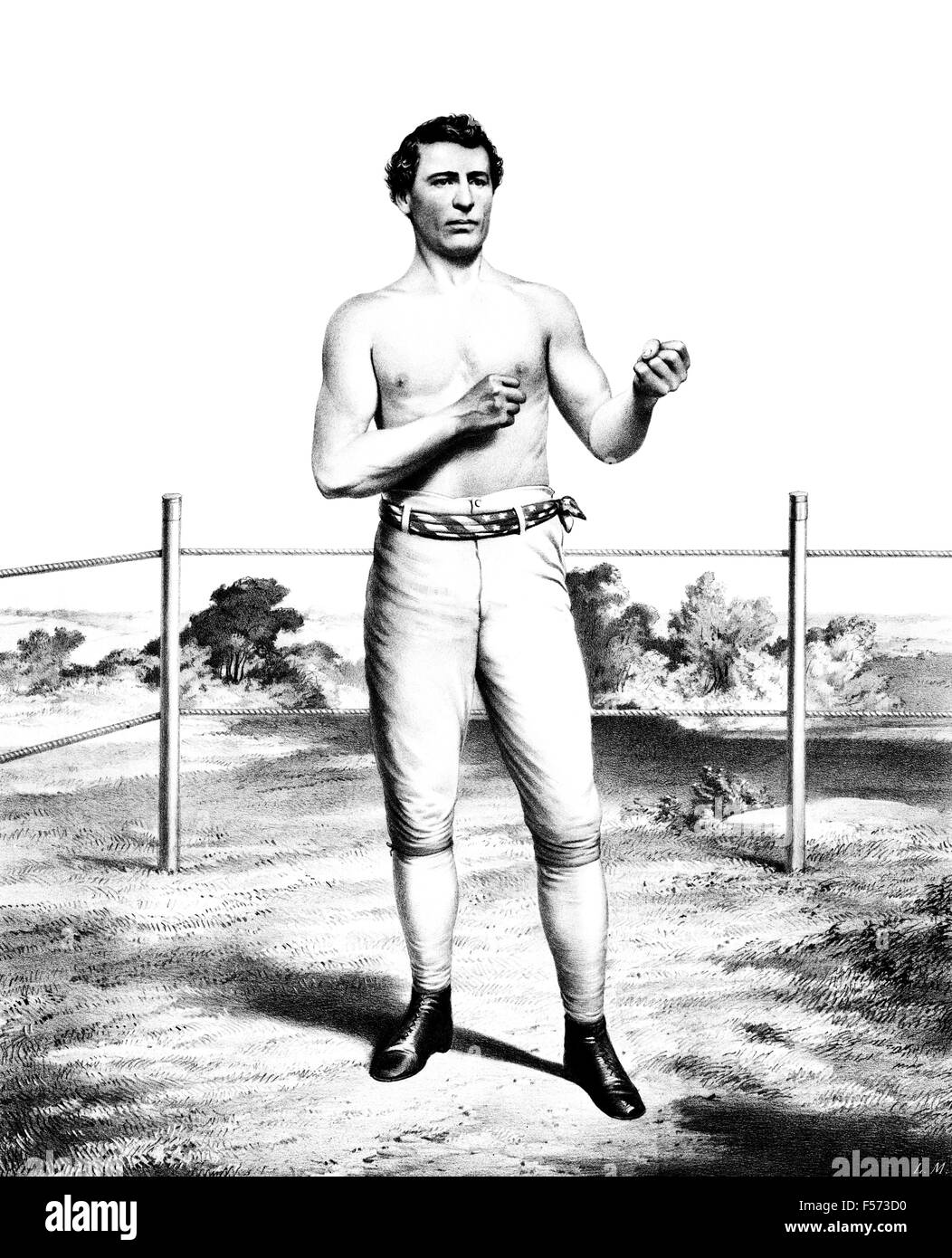Vintage portrait print of American bare-knuckle boxer John C Heenan (1834 - 1873). Heenan, born in New York and - Stock Image