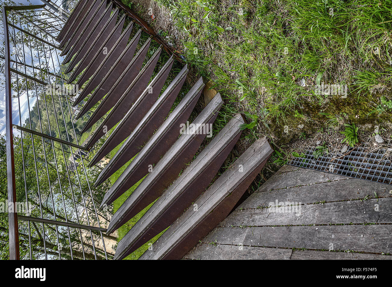 Stairs inside the park in Spain. The image is HDR with great detials - Stock Image