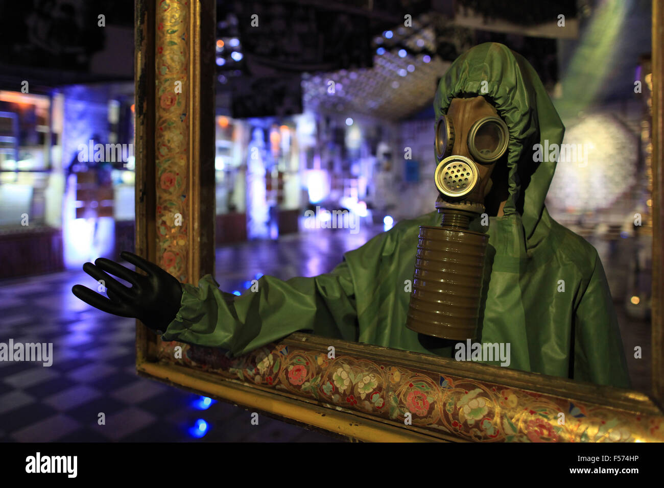A scale model of a liquidator from the Chernobyl disaster exhibited in the Ukrainian National Chornobyl Museum. - Stock Image