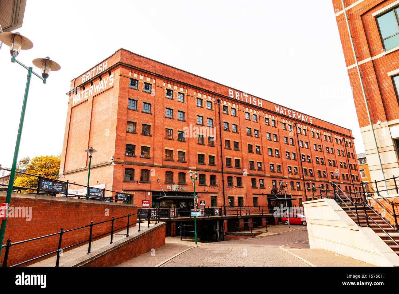 British Waterways building Nottingham City centre UK England sign exterior facade modern and old side together buildings - Stock Image