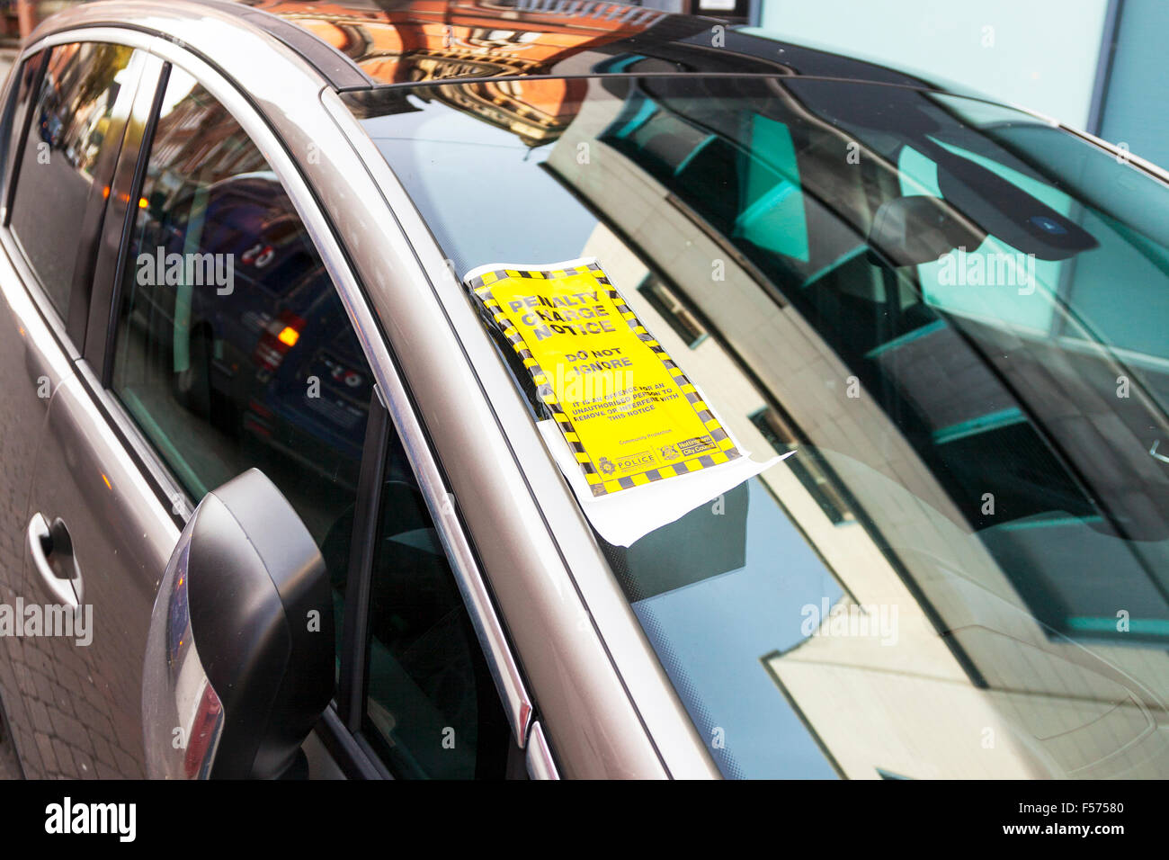 Parking fine penalty charge notice illegal illegally parked Nottingham City centre UK GB England Nottinghamshire - Stock Image