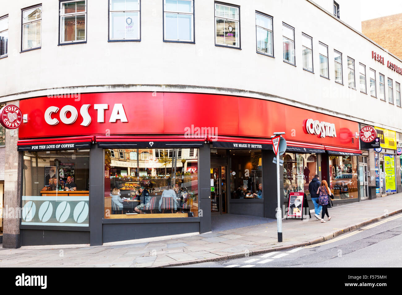 81648a709e7a Costa coffee chain Shop store name sign building exterior facade entrance  Nottingham City centre UK GB England Nottinghamshire