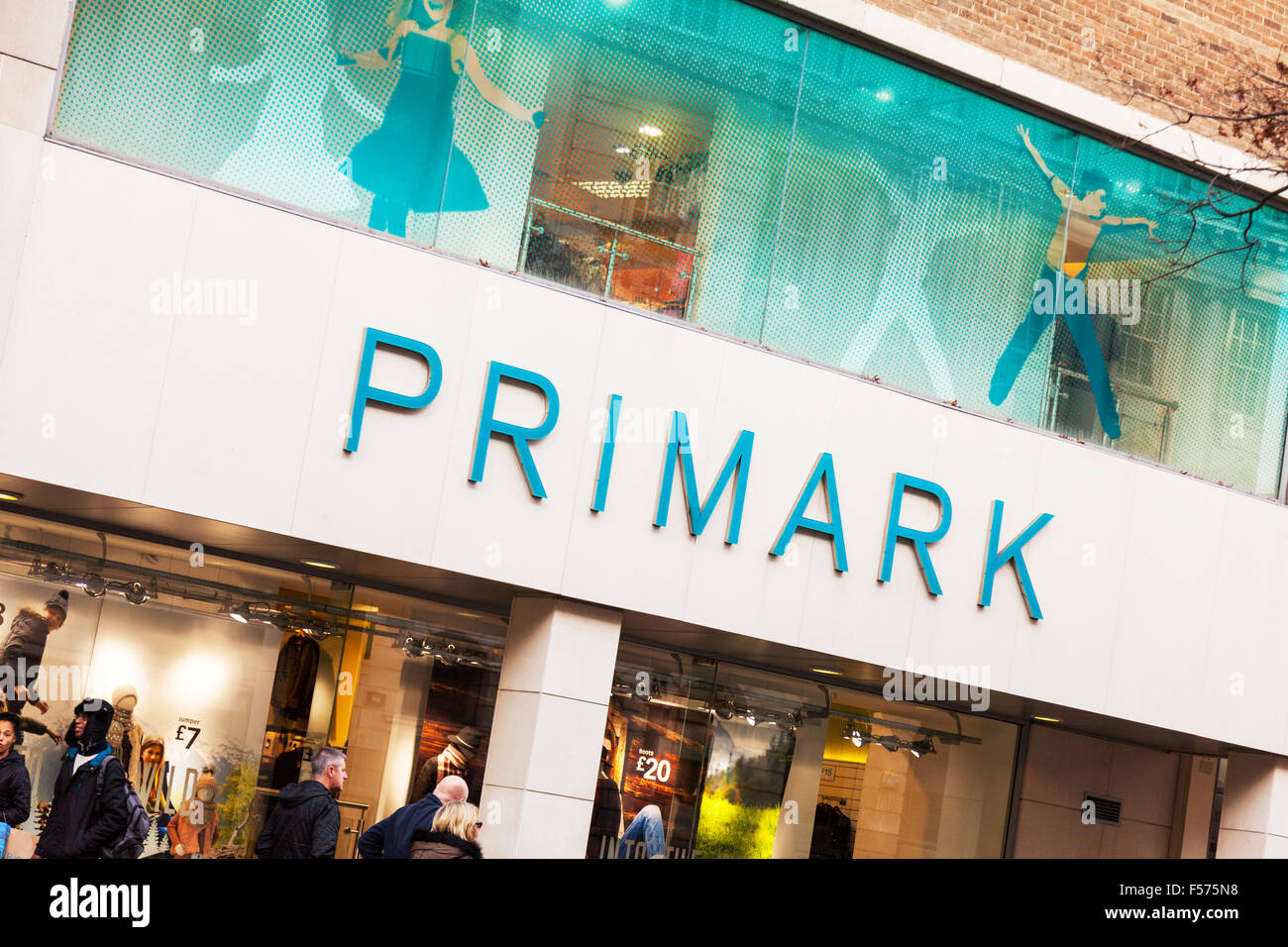 Primark Shop discount store name sign building exterior facade entrance Nottingham City centre UK GB England Nottinghamshire - Stock Image