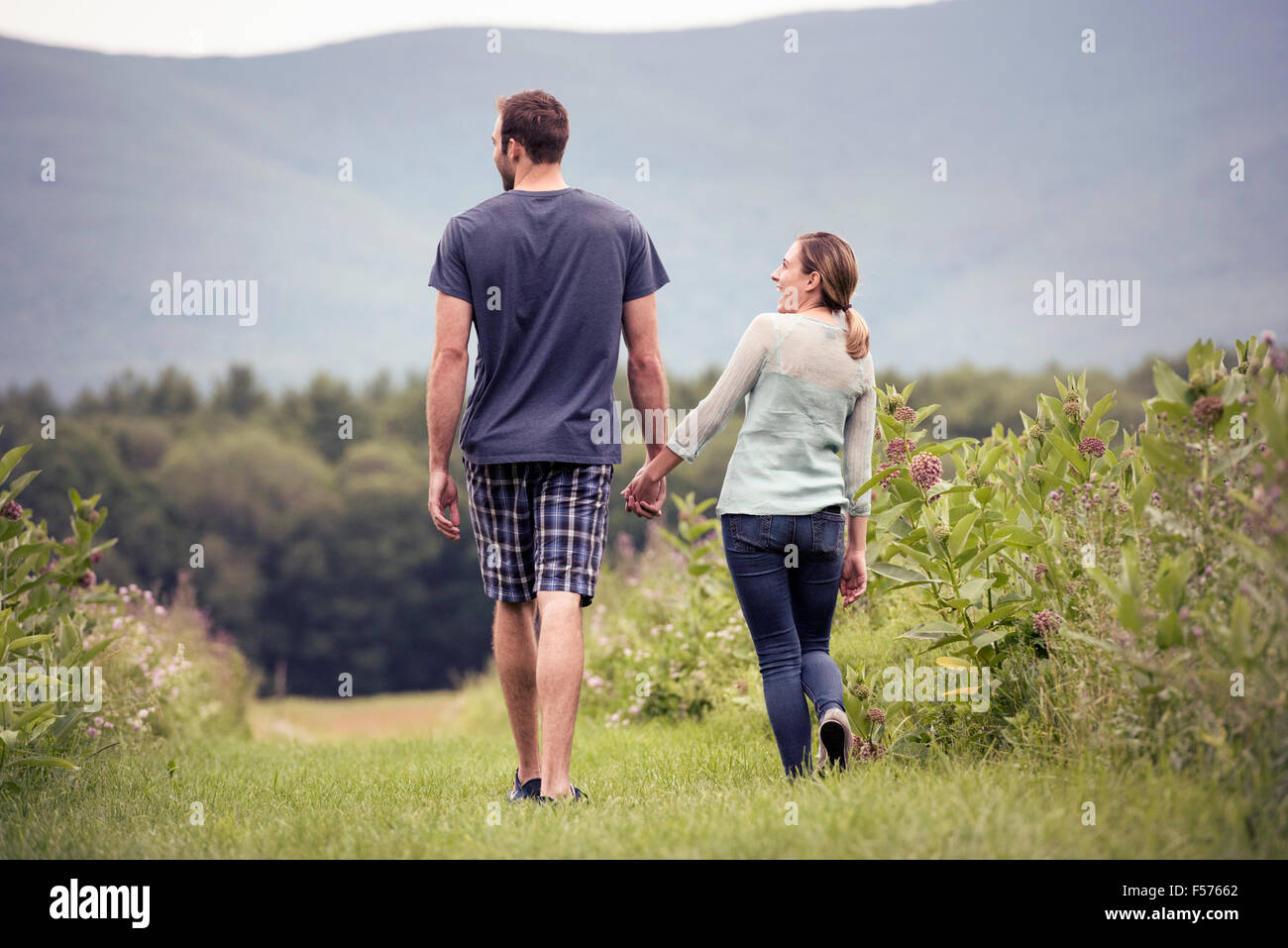 A couple, man and woman walking through a meadow holding hands. Stock Photo