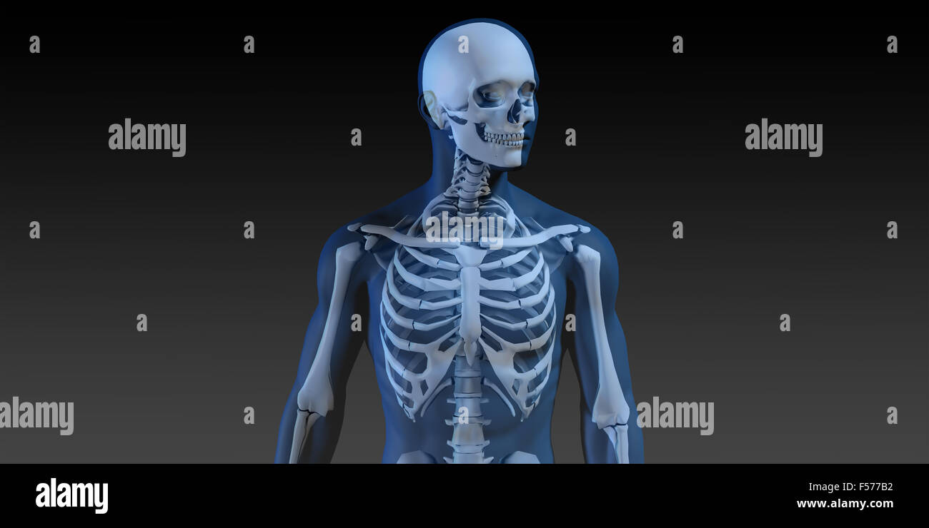3D Concept of Human Male Body and Skeleton Running Stock