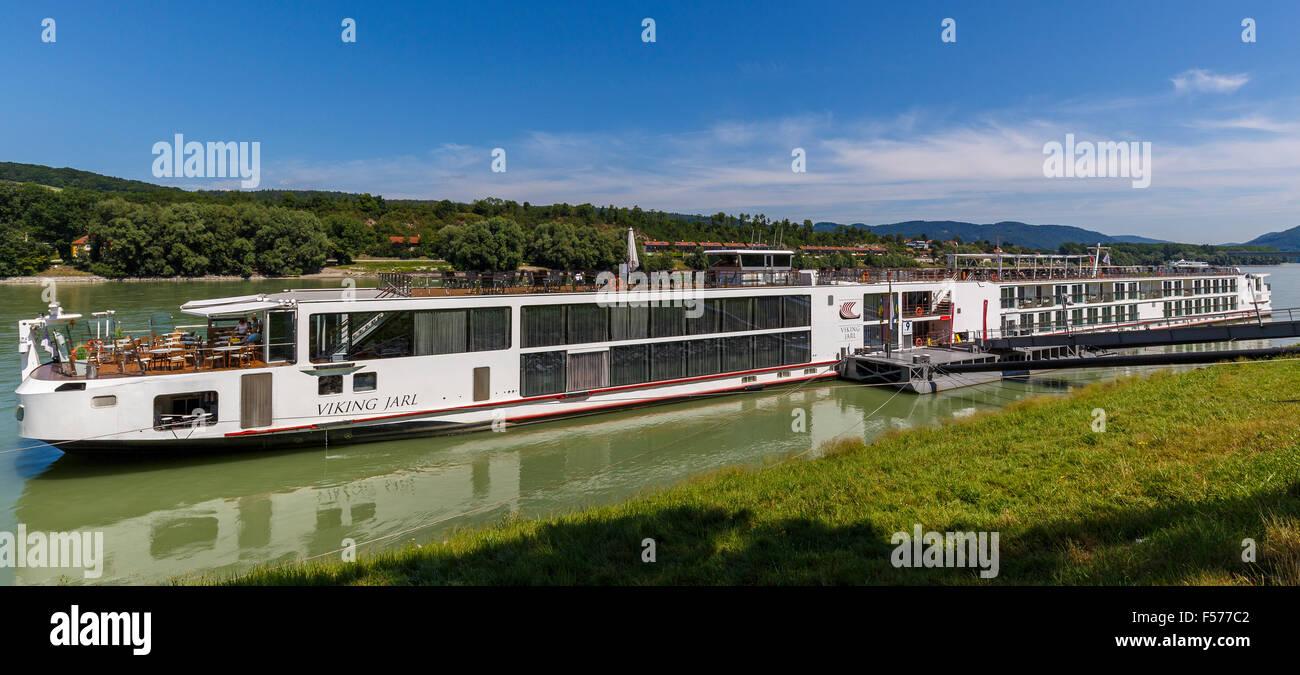 The Viking River Cruiser Longship Jarl moored at dock in Melk, Austria, on the River Danube. - Stock Image