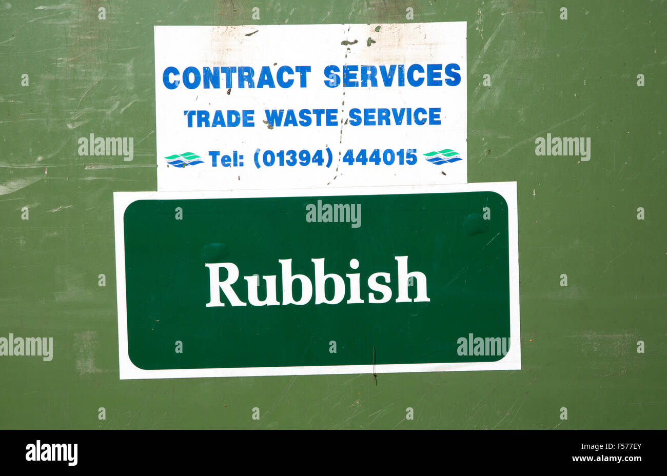 Close up trade waste service sign rubbish collection contract service, Suffolk, England, UK - Stock Image