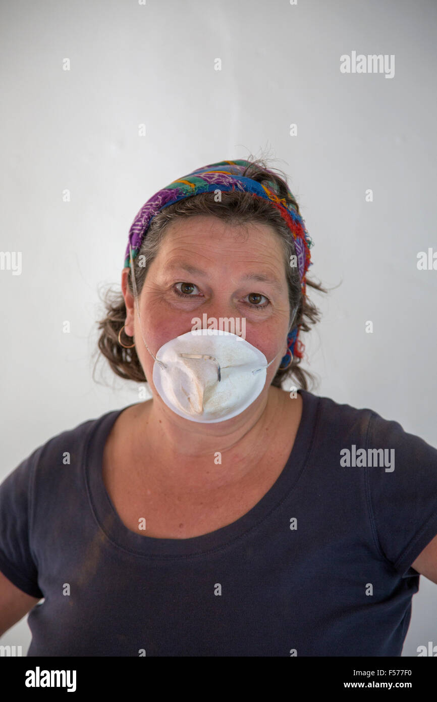 Middle aged woman wearing face mask doing diy work indoors england middle aged woman wearing face mask doing diy work indoors england uk solutioingenieria Choice Image