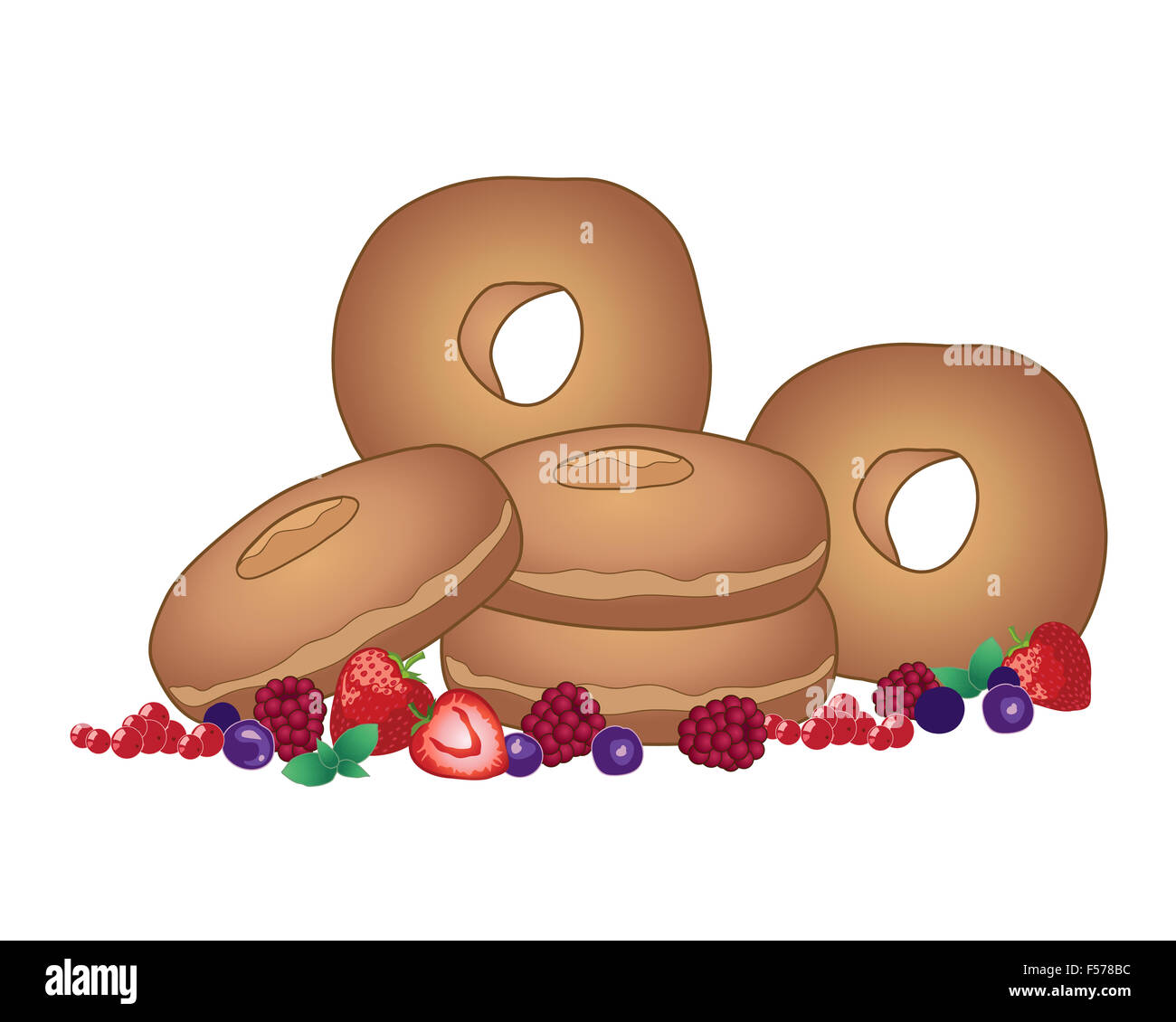 an illustration of a pile of plain doughnuts with a mixture of fresh fruits on a white background - Stock Image