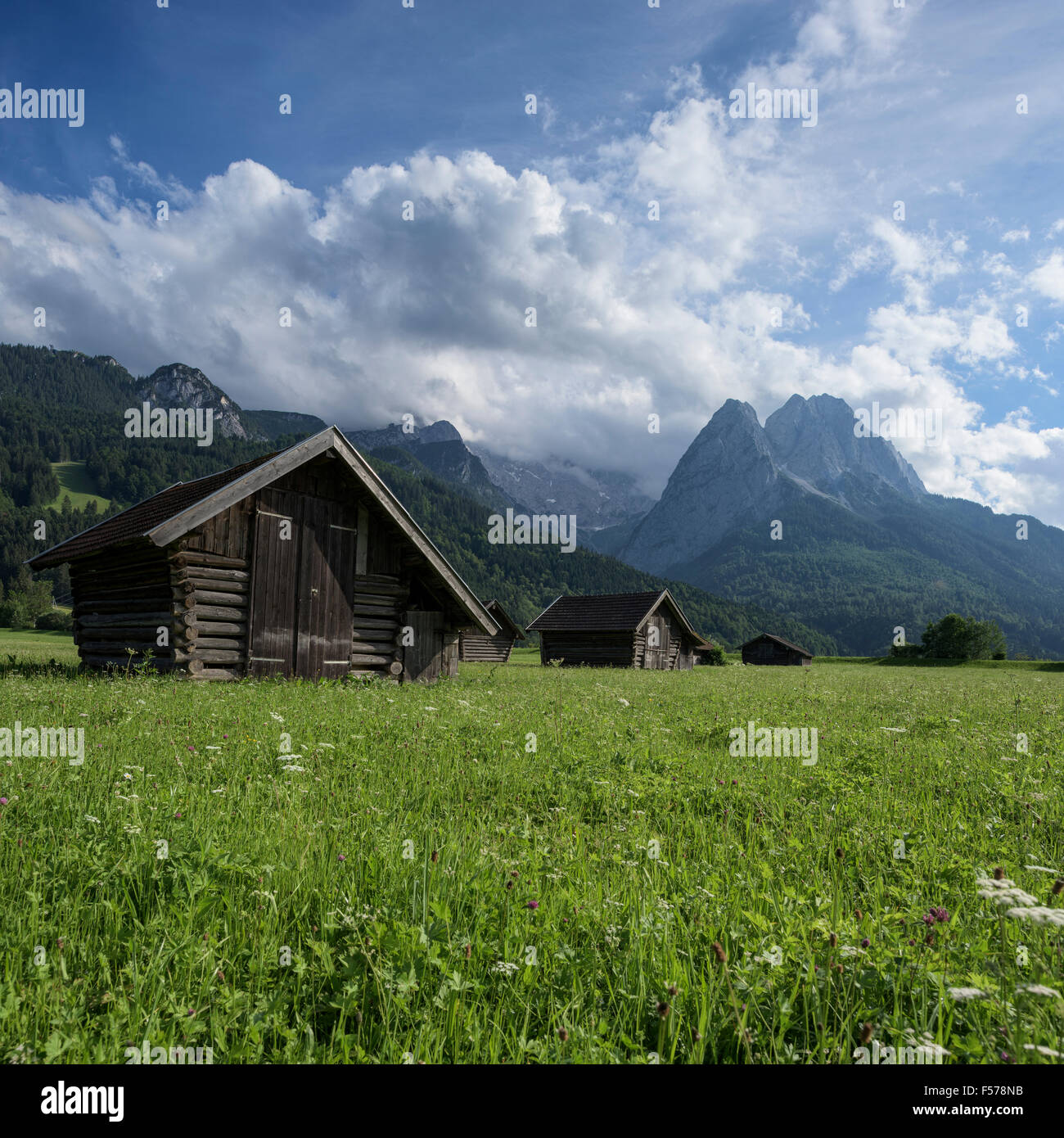 Wooden hay barns in field with mountains in background, Garmisch-Partenkirchen, Bavaria, Germany - Stock Image