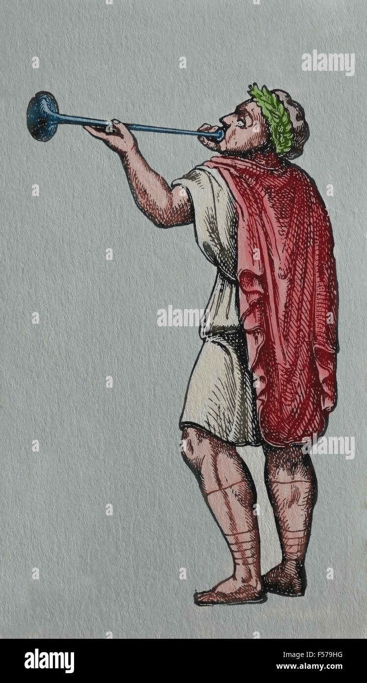Roman Empire. Roman Army. Trumpeter. Colored engraving. - Stock Image
