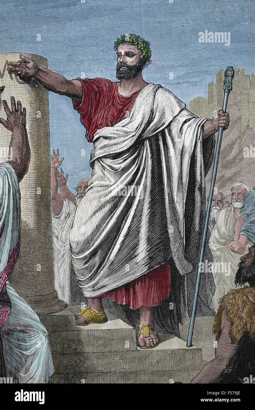 Solon ( 640 - 560 BC). Athenian legislator 'Solon let conjure the observance of his laws'. Engraving by - Stock Image