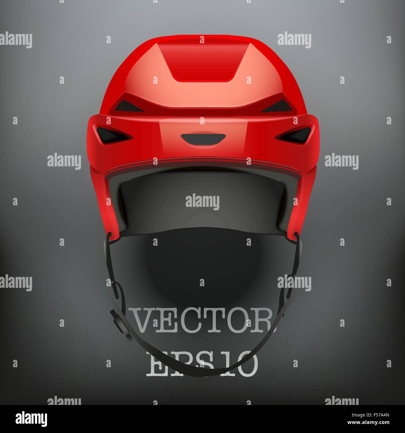 Background of Classic red Ice Hockey Helmet. Vector - Stock Image