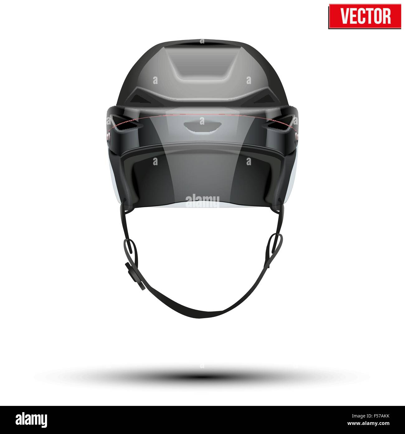 Classic black Ice Hockey Helmet with glass visor isolated on Background. Vector. - Stock Image